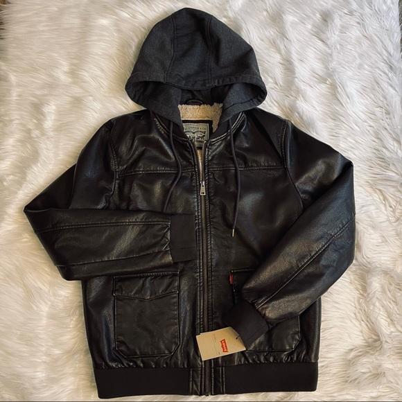 Levi's Faux Leather Dark Brown Sherpa Zip Jacket L